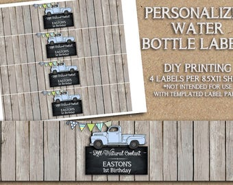 the Vintage Truck Collection - Water Bottle Label Printable - Personalized Water Bottle Labels - DIY Printing