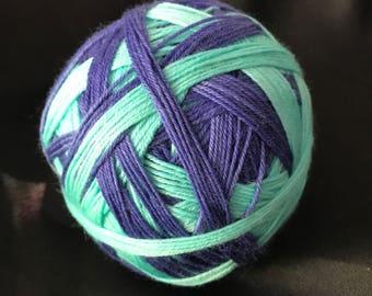 Aqua and midnight self striping sock yarn