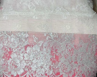 No. 700 2 Solstiss French Lace Samples and 1 Embroidered Tulle