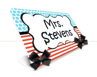 personalized teacher desk name plate stripes and dots theme classroom - SEC46