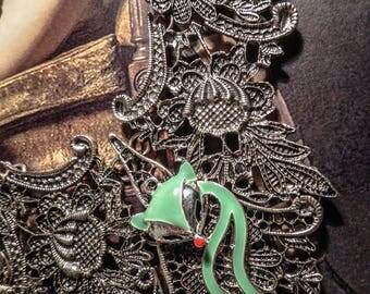 Silver bib necklace lace gypsy Bohemian color ♠Fox♠