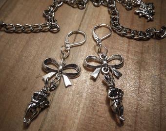Earrings Silver Bow Alice the Wonderland White Rabbit ♠ ♠