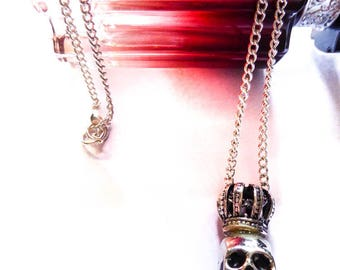 Necklace silver skull crowned mixed ♚Skulls♚