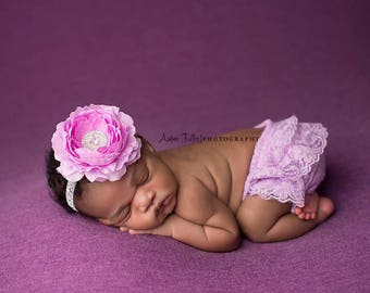 LAVENDER BLOOMER SET, Baby Bloomers and Headband, Newborn bloomers, Lace Bloomers, photography prop, newborn photo prop, Newborn Bloomers