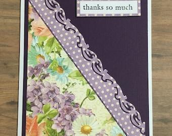 Greeting card, handmade card, thank you card, floral design, purple