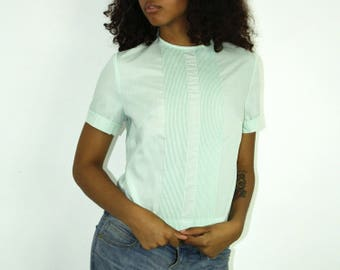Pintucked Top - Dusty Blue Green Mint Shirt T-Shirt Blouse Work Uniform Bust Darts Fitted 70s Deadstock Military Womens Medium Back Zipper