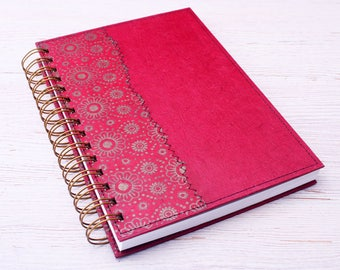 Blank Red Notebook / red journal / eco friendly notebook / recycled notebook / sketchbook / unlined notebook / art journal / travel journal
