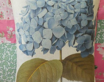 Hand printed onto fabric blue hydrangea image and made into a cushion, botanical image, hydrangeas, garden gift