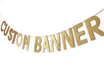 Custom Glitter Banner // Glitter Custom Banner // Gold Glitter Banner // Glitter Banner // Glitter Party Decor // Gold Glitter Banner
