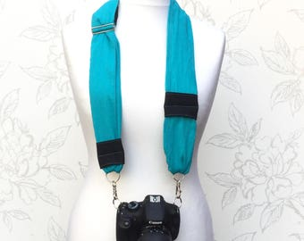 Turquoise DSLR Camera Strap,  Adjustable Cotton Camera Scarf Strap,Turquoise Blue Scarf Camera Scarf, Photography Gift, Accessory for Camera