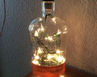 Bulleit Bourbon, Original Label, Recycled Bottle, Bourbon Light, Bourbon, Bottle Light, Upcycled, Bar Light, Accent Light, Recycled