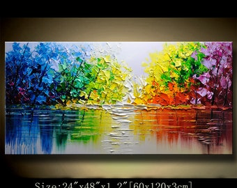 contemporary wall art  Modern Textured Painting,Impasto  Landscape  Textured Modern Palette Knife Painting,Painting on Canvas. Chen new08