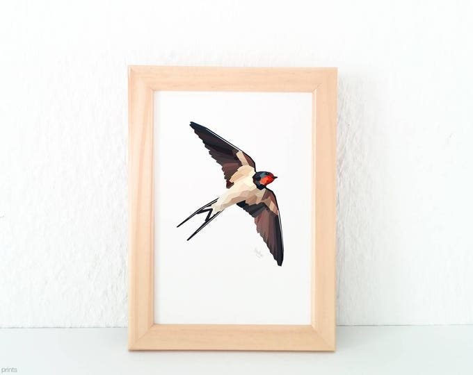 Swallow illustration, Swallow print, Minimal animal art, Geometric swallow print, Flying bird print, Bird in flight art, Migrating bird art