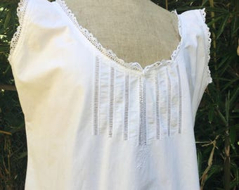"French vintage fine linen nightgown  chemise de nuit slip  hand made monogram "" M R ""Size L / XL"