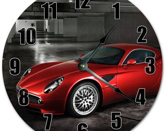 "10.5"" Shining RED CAR Clock - Living Room Clock - Large 10.5"" Wall Clock - Home Décor Clock - 5306"