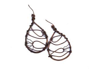 Hammered copper Earrings| Copper Wire Earrings| Handmade Copper Earrings| Boho Earrings| Rustic Copper Earrings| Dangle Earrings