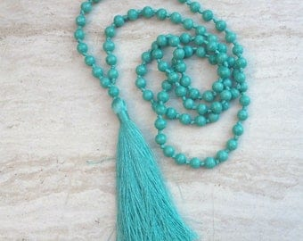 Aqua Tassel Necklace Long Aqua Beaded Necklace Hand Knotted Long Tassel Necklace