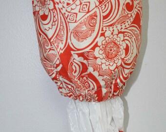 Orange & White Print Plastic Bag Holder, Grocery Bag Holder, Bag Holder, Bag Dispenser
