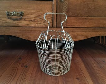 Vintage Wire Egg Basket, Home Decor, Baskets, Kitchen, Storage, Aluminum Wire Egg Basket, Metal Wire Egg Basket
