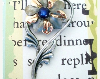 ON SALE Vintage Flower Brooch Pewter Gold Copper with Navy Blue Stone Bridal Brooch Bouquet Accessory