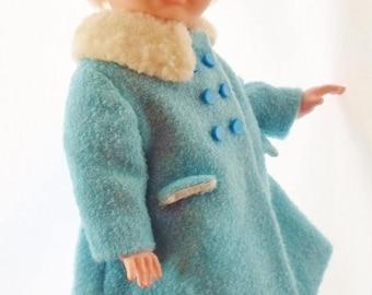 "ON SALE Vintage 22"" AE Companion Doll/Walking Doll, Original Blue And White Dress, Coat, Hat, Slip, Underwear & Shoes, Hard Plastic, Vinyl,"