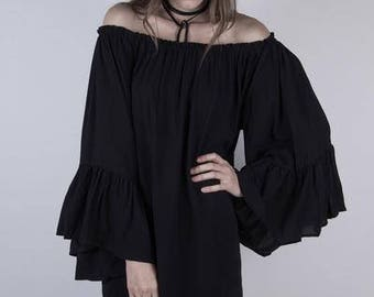 Off the Shoulder Blouse - Cold Shoulder Top - Ruffle Sleeve Blouse - Poet Shirt - Size Small/Medium