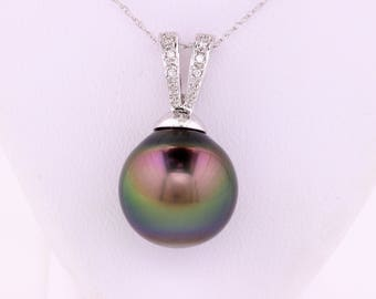 Tahitian, Pearl, and Diamond, Pendant, and Necklace 14 Kt, White Gold