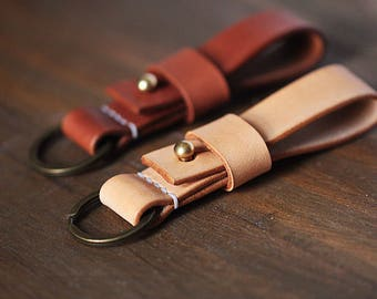 100% Hand-stitched Vegetable Leather key holder keychain leather