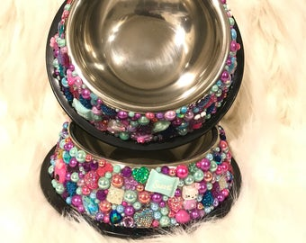 All About the Fun! Bedazzled Doggy Water & Food Bowl Set