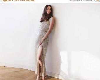 25% OFF Metallic Gold pleated maxi dress, Gold maxi sleeveless gown, Glamorous party dress 1073
