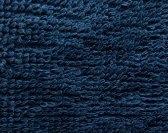 Cotton Terry Cloth Navy 58 Inch Fabric by the Yard, 1 yard