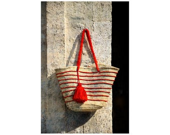 Red Stripes, France Photography, French Tote Bag, Straw Bag, French Style, Beach Style, Cherry Red