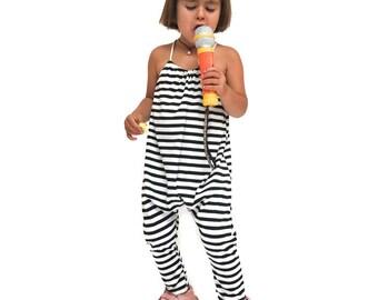 Striped Back Tie Jumper, Girls Romper, Black and White Stripe, Brown Sugar Beach