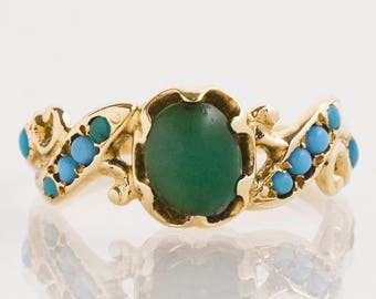 Antique Ring - Antique 14k Yellow Gold Green & Blue Turquoise Ring