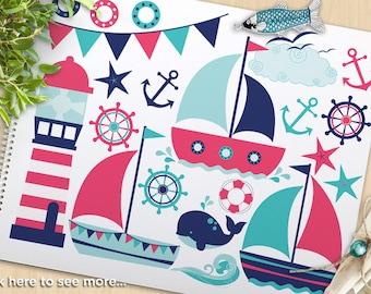 Sail Away (Girl), Sailing Clipart, Nautical, Bon Voyage, sailboat, bunting, lighthouse, anchor, commercial use, Vector Clipart, SVG cut