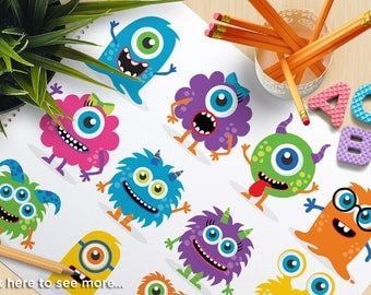 Monster Clipart, baby monster, cute monster, friendly monster, bright, birthday, party, commercial use, vector clipart, SVG cut file