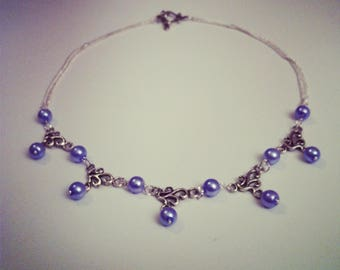 Necklace silver arabesques and sky blue beads