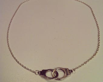 Necklace silver chain with small cuffs