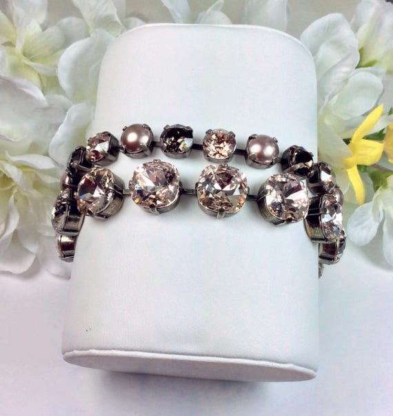 Swarovski Crystal 12MM Cushion Cut Deco Style Bracelet  - Designer Inspired - Sparkle & Shimmer  - Choose Color and Finish - FREE SHIPPING