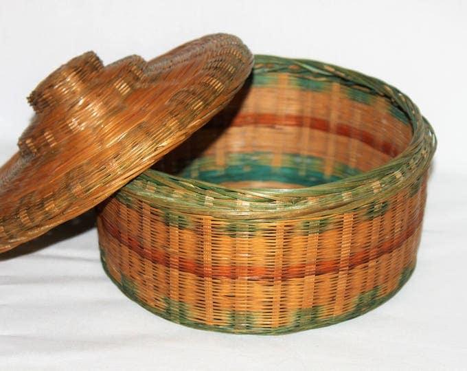 Vintage Round Wicker Sewing Basket