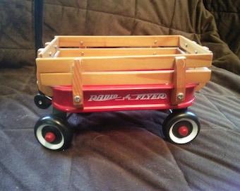 Vintage Radio Flyer Wagon - Small Radio Flyer Wagon - Red Wagon - Wagon with Wood Sides - Little Red Wagon