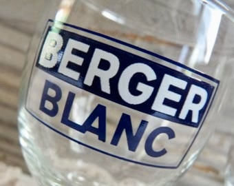 Vintage Pair of BERGER BLANC GLASSES, French Berger Pastis Glasses. Original, Footed Bistro Glasses with Blue/ White Logo.