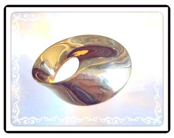 Vintage Monet Classic Gold Tone Pin - Abstract Donut Hole Oval Brooch - Signed Monet - Vintage 1970's 1980's - Modernist-1052d-112614010