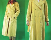 1980s Gold Yellow Lightweight Double Breasted Trench Coat