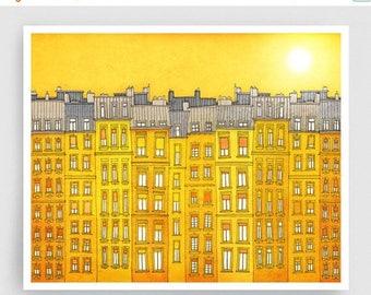 30% OFF SALE: Yellow facade (landscape)- Paris illustration Fine art illustration Poster Paris art City print Paris decor Travel poster Wall
