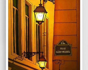 30% OFF SALE: Paris illustration - Quai Saint Michel (yellow version) - Art illustration Prints Posters Architectural drawing Travel poster