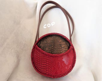 Faux Red and golden brown leather handbag