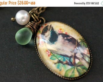 SUMMER SALE Bird Necklace. Song Bird Pendant with Green Teardrop and Pearl. Bird Jewelry. Charm Necklace. Wearable Art Jewelry. Handmade Jew