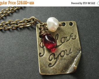 SUMMER SALE I Love You Necklace. Love Necklace. Romantic Necklace. Charm Necklace with Red Teardrop and Pearl. Handmade Jewelry.