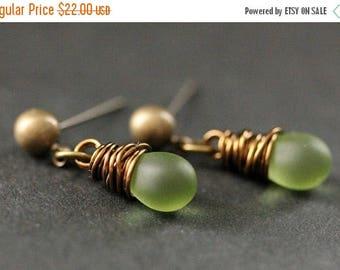 BACK to SCHOOL SALE Bronze Earrings - Clouded Green Teardrop Earrings. Dangle Earrings. Post Earrings. Handmade Jewelry.